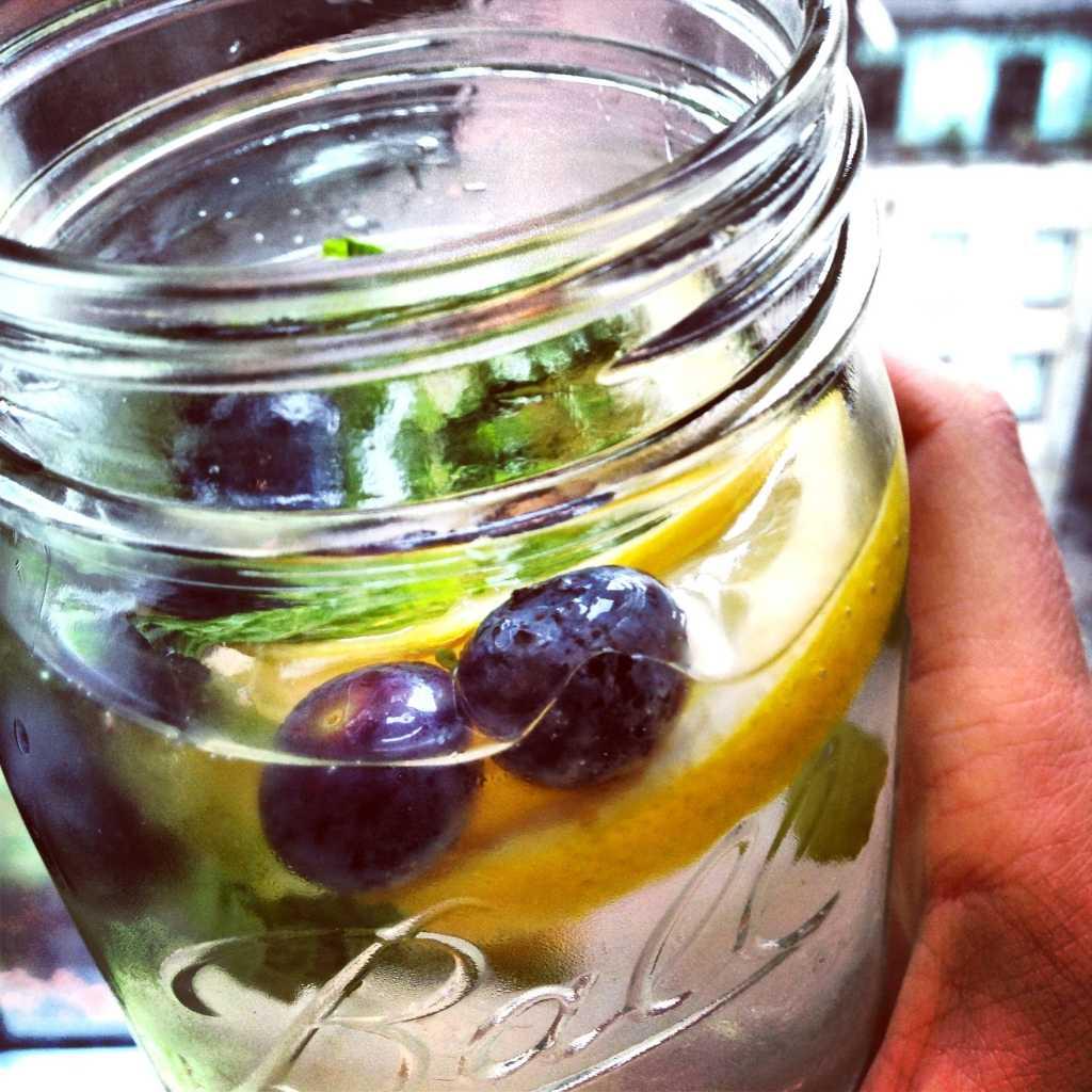 Lemon, mint, blueberry, nectarine